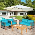 Bayou Breeze Patiojoy 4-piece Outdoor Patio Wood Conversation Furniture Set Padded Chair w/ Coffee Table Turquoise Wood/Natural Hardwoods in Blue