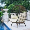 Dakota Fields Patiojoy Rattan Egg Chair Lounge Chair Wide Seat W/cushion Suitable For Indoor & Outdoor Beige in Brown | Wayfair