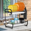 Prep & Savour Dish Drying Rack, Upgraded 2 Tier Dish Rack Drainboard Set w/ Removable Tray Drainer in Black/White, Size 15.8 H x 16.9 W x 10.8 D in
