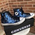 Converse Shoes | Converse Chuck Taylor All Star Blue Sequin Womens High Top Size 6 | Color: Blue/White | Size: 6