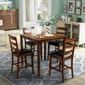 Red Barrel Studio® 4 Pieces Square Kitchen Dining Set Wood Kitchen Dinette Table w/ 4 Chairs Upholstered Chairs in Brown, Size 35.8 H in   Wayfair