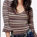 Free People Tops | Free People Surprise Party Top Size Small | Color: Cream/Purple | Size: S