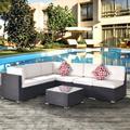 Latitude Run® Outdoor Garden Patio Furniture 7-Piece PE Rattan Wicker Sectional Cushioned Sofa Sets w/ 2 Pillows & Coffee Table Metal in White