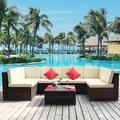 Latitude Run® Outdoor Patio Sectional Furniture Sets, 7 Pieces Wicker PE Rattan Corner Sofa Set w/ Soft Cushions Glass Table in White | Wayfair