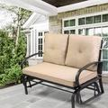 Winston Porter Patio Loveseat Outdoor Patio Glider Rocking Bench,porch Furniture Glider,wrought Iron Chair Set w/ Cushion,beige Metal in Black