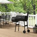 YOLO BBQ Charcoal Grill, Portable Barbecue Grill, Offset Smoker Barbecue Oven w/ Wheels & Thermometer, Size 35.8 H x 24.2 W x 0.0 D in | Wayfair
