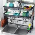 DGS Over The Sink Dish Drying Rack,2 Tier Stainless Steel Adjustable Kitchen Storage Counter Organizer,Black Stainless Steel in Gray | Wayfair