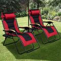 Guzhai Zero Gravity Patio Chair Outdoor Reclining Lounge Chair Padded Seat w/ Adjustable Pillow & Side Table () Metal in Red   Wayfair