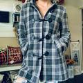 Nine West Jackets & Coats | Nine West Wool Blend Plaid Hooded Jacket | Color: Gray/White | Size: 6