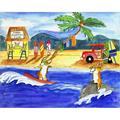 Trinx Corgi Surfers Club By Cheryl Bartley, Canvas Wall Art in Blue/Brown/Green, Size 16.0 H x 20.0 W x 0.75 D in   Wayfair