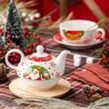 Malacasa Santa Claus Porcelain Christmas Tea Set w/ Teapot, Teacup & Saucer Porcelain China/Ceramic in Red/White, Size 6.5 H x 6.5 W x 6.5 D in