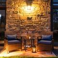 Latitude Run® 3 Piece Outdoor Wicker Patio Furniture Conversation Set Wicker/Rattan in Blue | Wayfair B41E125566334E418D5319ECD03DC9D5