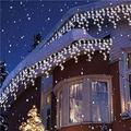 The Holiday Aisle® Halloween Decorations Outdoor Icicle Light Battery Powered Window Backdrop Curtain Light 9.8Ft Garland Hanging Outdoor Light For Indoor Home Halloween