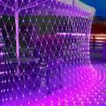 The Holiday Aisle® Outdoor Halloween Net Lights, 12FT X 5FT 360 LED Christmas Fairy Mesh Lights w/ 8 Lighting Modes in Indigo   Wayfair
