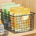 Rebrilliant Metal Wire Kitchen Food Storage Organizer Bin, Medium, 4 Pack - Chrome Metal in Black, Size 6.0 H x 9.0 W x 12.0 D in | Wayfair