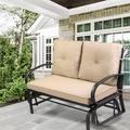 Red Barrel Studio® Patio Outdoor Glider Rocking Chair, Loveseat W/armrest & Cushion,for Patio Garden Yard Porch,blue Metal in Black | Wayfair
