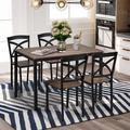 Red Barrel Studio® 5-piece Industrial Wooden Dining Set w/ Metal Frame & 4 Ergonomic Chairs Wood/Metal in Brown, Size 30.0 H in | Wayfair