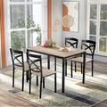 Red Barrel Studio® 5-piece Industrial Wooden Dining Set w/ Metal Frame & 4 Ergonomic Chairs, Brown Wood/Metal in Black/Brown/Gray, Size 30.0 H in