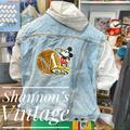 Disney Jackets & Coats | Mickey Inc Vntg Xl Hooded Denim Jacket A16 | Color: White/Silver | Size: Xl