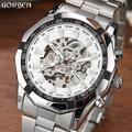 Montre de luxe automatique pour hommes, argent, gagnant, squelette mécanique, cadran blanc, Bracelet