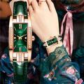 Montre-bracelet à Quartz rectangulaire pour femmes, cadran de luxe avec strass, bracelet en cuir,