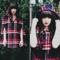 Urban Outfitters Jackets & Coats   Cooperative Red Plaid Cape Coat Hooded Button Up   Color: Black/Red   Size: Xs