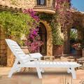 Red Barrel Studio® Adjustable Garden Lounge Chair Outdoor Beach Lounge Chair Black, 73.5X22.3X11.8In in White | Wayfair