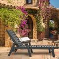 Red Barrel Studio® Adjustable Garden Lounge Chair Outdoor Beach Lounge Chair Black, 73.5X22.3X11.8In in Gray | Wayfair