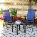PHI VILLA 3 Piece Outdoor Patio Dining Set w/ Folding Portable Chairs in Black/Blue, Size 18.0 H x 19.0 W x 19.0 D in | Wayfair S3-2516
