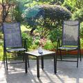 PHI VILLA 3 Piece Outdoor Patio Dining Set w/ Folding Portable Chairs in Black/Gray, Size 18.0 H x 19.0 W x 19.0 D in | Wayfair S3-2515