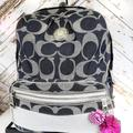Coach Bags   Coach Signature Stripe Full Size Backpack   Color: Blue/Silver   Size: Os