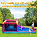 Minerva Kid Inflatable Bounce House w/ Blower Splash Water Gun Pool Water Slide Jump Bounce Houses For Toddlers Bouncy Jumping House Backyard Indoor Ou