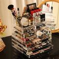 Rebrilliant Transparent Makeup Storage Box & Storage Can Be Stacked Large Skin Care Cosmetics Display Cabinet, Size 12.6 H x 11.0 W x 7.1 D in