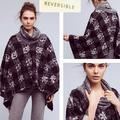 Anthropologie Jackets & Coats | Anthro Sleeping On Snow Wintertide Cozy-Chic Wool Blend Reversible Cape Rare Nwt | Color: Black/Gray | Size: Os
