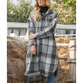ZOWODO Women's Non-Denim Casual Jackets Gray - Gray Plaid Button-Up Coat - Women