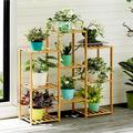 Arlmont & Co. Multi-tier Bamboo Plant Stand Planter Rack Flower Pots Holder Display in Yellow, Size 31.49 H x 32.67 W x 9.84 D in | Wayfair