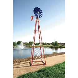 Outdoor Water Solutions Ornamental Garden Windmill - 8ft.3Inch H, Red, White and Blue, Model BYW0060