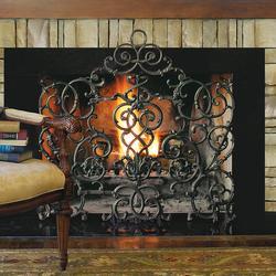 Vineyard Cast Iron Scroll Fireplace Screen - Frontgate