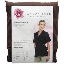Canyon Rose Wrap Front Salon Esthetician Jacket, Brown, XL