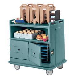 "Cambro MDC24401 44 1/2"" Polymer Beverage Service Cart, 30""D x 44""H, Blue"