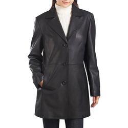 BGSD Women's Danielle New Zealand Lambskin Leather Walking Coat Black Large