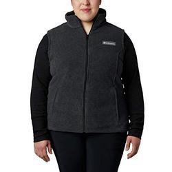 Columbia Women's Plus Size Benton Springs Soft Fleece Vest, Charcoal Heather, 3X