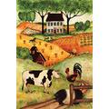 Toland Home Garden Farm Gathering 28 x 40 Inch Decorative Country Cow Pig Rooster House Flag