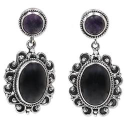 Amethyst and onyx earrings, 'Equilibrium'