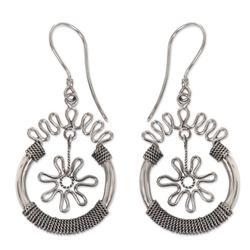 Sterling silver flower earrings, 'Flower Spins'