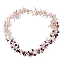 Amethyst chain necklace, 'Romance'
