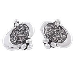 Earrings, 'Contempo' - Sterling Silver Button Earrings