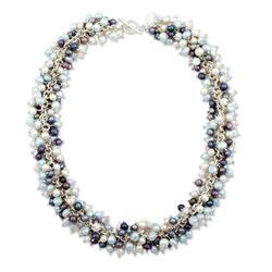 Pearl beaded necklace, 'Taxco Rain'