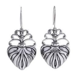 Sterling silver dangle earrings, 'Sacred Heart'