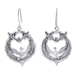 'Peace Doves' - Handcrafted Sterling Silver Dangle Bird Earrings